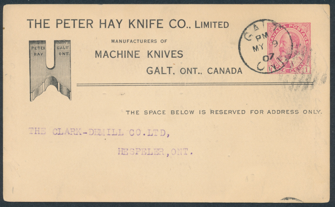 1907 P23 1c Red Edw Vii Pc Peter Hay Knife Illustrated Advertising